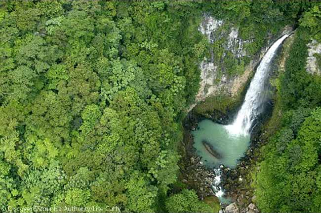 Victoria Falls aerial view, Dominica. Photo courtesy of Discover Dominica Authority