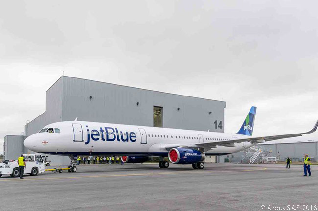 The first aircraft off the Airbus A320-family final assembly line in Mobile, Alabama rolled out of the paint shop on March 4, 2016. The aircraft was an A321 for JetBlue Airways