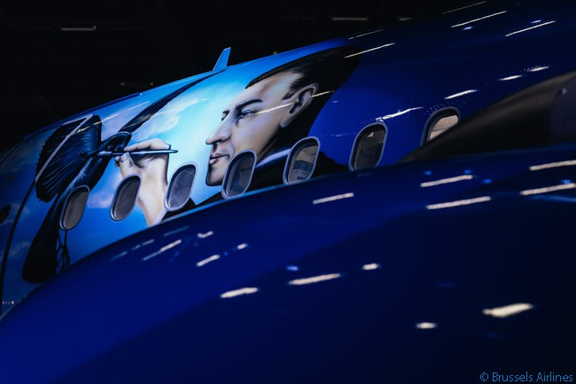 Brussels Airlines' theme-liveried A320 named 'Magritte' commemorates the famous Belgian surrealist painter René Magritte