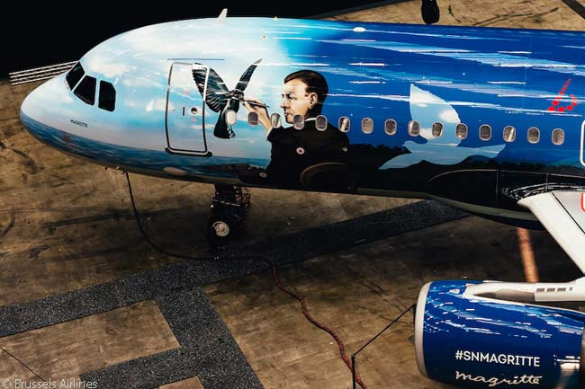 On the aircraft's fuselage, the themed-livery design of the Brussels Airlines A320 named 'Magritte' incorporates two of Magritte's paintings, La Clairvoyance (1936) and Le Retour (1940)
