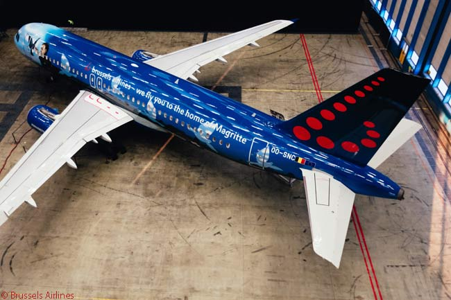 Brussels Airlines unveiled a theme-liveried A320 named 'Magritte' on March 21, 2016