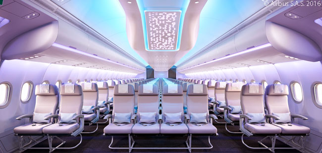 The 'Airspace by Airbus' cabin-interior design brand encompasses four design elements: comfort, ambience, service and design