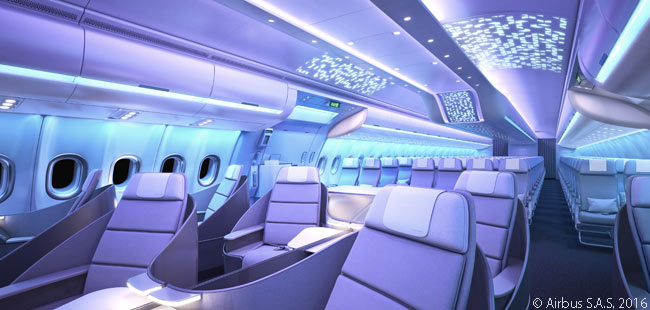 All 'Airspace by Airbus' cabins will have consistently recognizable design elements, such as clean, straight lines; clear surfaces; and ambient lighting
