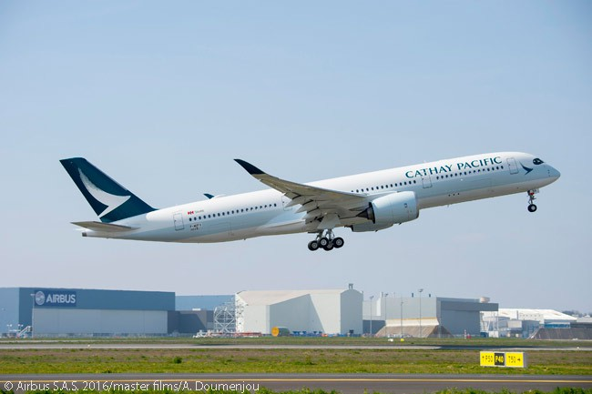 Cathay Pacific Airways' first Airbus A350-900 performed its maiden flight on March 24, 2016