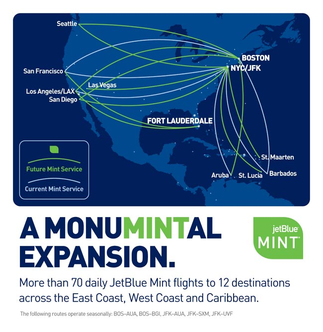 This network map shows all the routes on which JetBlue Airways expected to operate its Mint premium service-configured Airbus A321s by 2018