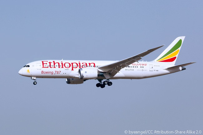 Ethiopian Airlines Boeing 787-8 ET-AOQ is photographed on final approach to Beijing Capital International Airport