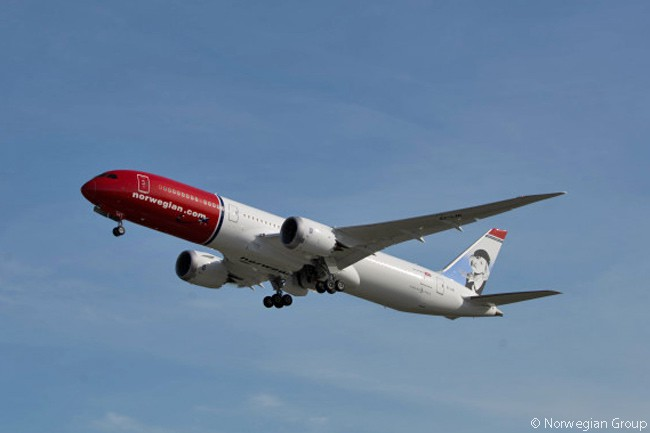 Norwegian Group operates a growing number of Boeing 787-8s and 787-9s on routes between European airports and the United States. Norwegian's 787 fleet includes both leased and directly purchased aircraft. This is one of its 787-9s