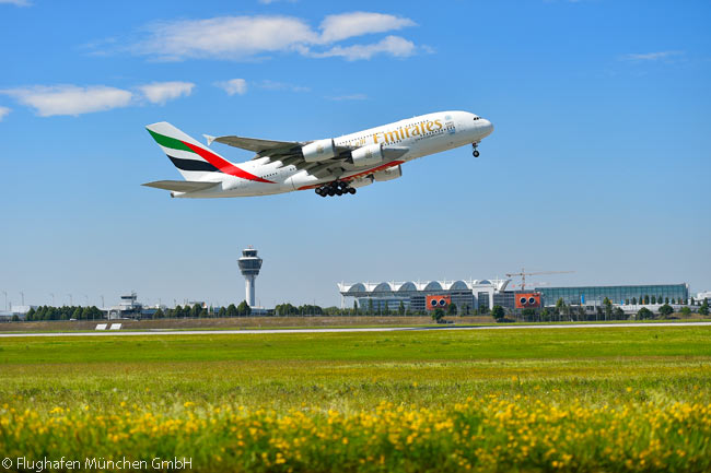 In 2016 only Terminal 1 was handling A380 flights to and from at Munich Airport. Lufthansa, which uses Terminal 2 and its new satellite terminal, has not based any A380s at Munich. However, Emirates' A380s are a common sight at the airport