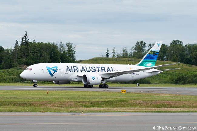 La Réunion-based Air Austral took delivery on May 23, 2016 of the first of two Boeing 787-8s it had ordered from the manufacturer in 2015. The carrier intended to use the aircraft to operate non-stop services between Dzaoudzi–Pamandzi International Airport in the French insular department and region of Mayotte, in the Indian Ocean, and Paris Charles de Gaulle Airport