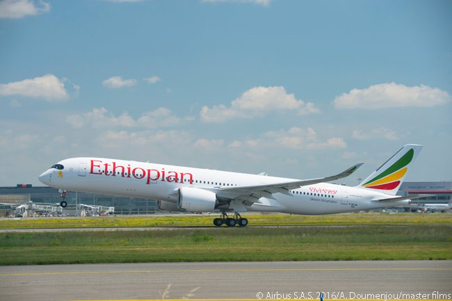 Ethiopian Airlines' first Airbus aircraft, a new A350-900 leased from AerCap, arrived at the carrier's main base at Addis Ababa's Bole International Airport on June 29, 2016