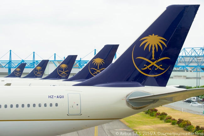 On August 18, 2016, Saudi Arabia's national carrier Saudi Arabian Airlines took delivery of the first of 20 Airbus A330-300 Regional jets it had on order. The first aircraft's verticfal stabilizer and rear fuselage is in the foreground of this photo,which also shows four more of Saudi Arabian's forthcoming A330-300 Regional deliveries