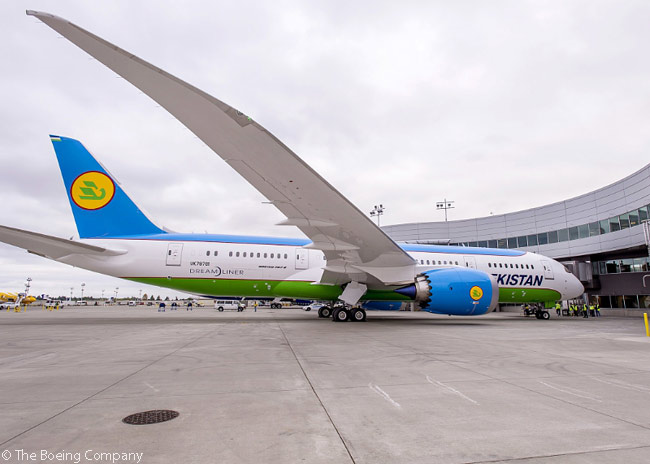 On August 31, 2016, Uzbekistan Airways took delivery of the first of two Boeing 787-8s it had on order