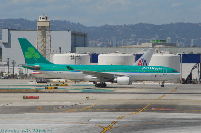 Aer Lingus Airbus A330-200 EI-DAA taxis at Los Angeles International Airport