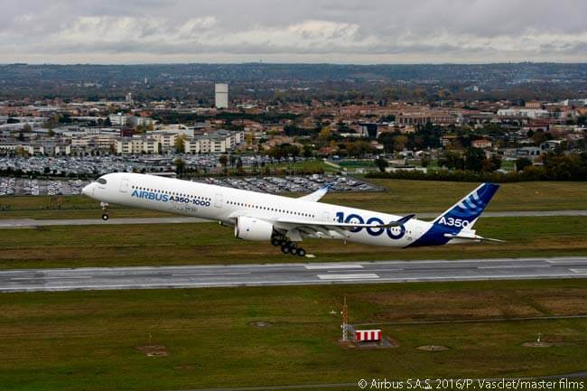The first of three Airbus A350-1000 development aircraft to fly in the certification flight-test program for the type took to the skies for the first time on November 24, 2016