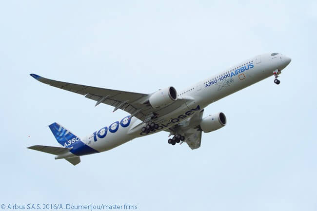 The first test flight of an Airbus A350-1000, on November 24, 2016, lasted four hours and 18 minutes